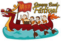 Rowing Team Competing in Dragon Boat Festival, Vector Illustration Royalty Free Stock Photo