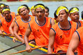Rowing team race chumphon thailand oct unidentified rowers in climbing bows toward snatching a flag native thai long boats compete Royalty Free Stock Image