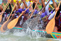 Rowing team race chumphon thailand oct unidentified rowers in climbing bows toward snatching a flag native thai long boats compete Stock Photography