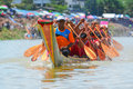 Rowing team race chumphon thailand oct unidentified rowers in climbing bows toward snatching a flag native thai long boats compete Stock Photo