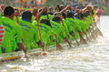 Rowing team race chumphon thailand oct unidentified rowers in climbing bows toward snatching a flag native thai long boats compete Royalty Free Stock Photography