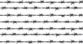 Rows of barbed wire