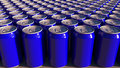 Rows of blue aluminum cans at factory. Soft drinks or beer production. Modern recycling packaging. 3D rendering Royalty Free Stock Photo