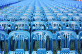 Rows of blue color chairs Stock Photos