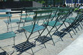 Rows of chairs green at a new york city park Royalty Free Stock Photo