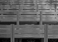 Rows of chairs inside Cathedral, monochrome Royalty Free Stock Photography