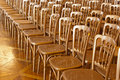 Rows of chairs meeting background Stock Photo
