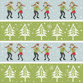 Rows of christmas elves dancing in snow with trees vector illustration romantic elf couples and snowflakes Royalty Free Stock Photo