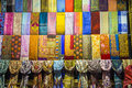 Rows of colourful silk scarfs Royalty Free Stock Photo