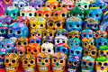 Rows of day of the dead skulls a close up detail shot for sale by roadside in yucatan mexico Royalty Free Stock Images
