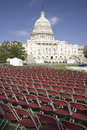 Rows of empty red chairs in front of the U.S. Capitol, Washington Royalty Free Stock Image