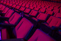 Rows of empty theater seats red or movie Stock Images
