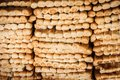 Rows of fresh bread in market. Royalty Free Stock Photo
