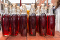 Rows of Gourmet Soda in Corked Bottles Royalty Free Stock Photo