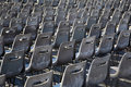 Rows of gray chairs on Piazza San Pietro Stock Photography