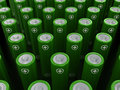 Rows of green alkaline batteries aa d rendering scene with Stock Image