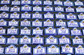 Rows of house name plaques at Spanish market Stock Photography