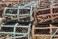 Rows of lobster pots Royalty Free Stock Photos
