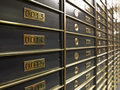 Rows of luxurious safe deposit boxes Royalty Free Stock Image