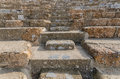 Rows of marble stone seats at ancient Greek theater at Ephesus Royalty Free Stock Photo