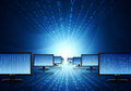 Rows monitors with glowing figures hi tech technological background Royalty Free Stock Photography