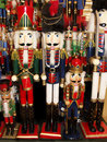 Rows of nutcrackers assorted at a christmas display Royalty Free Stock Images