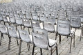 Rows of old empty chairs on square vienna Royalty Free Stock Photos