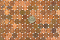 Rows of old pennies with dollar coin Stock Photo