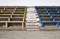 Rows of old wooden stadium benches Royalty Free Stock Photography