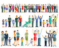 Rows of people and families colorful waving on white background Stock Photography