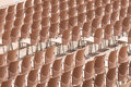 Rows of plastic chairs abstract without people on them preparation for presentation or performance Stock Images