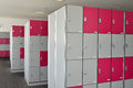 Rows of public lockers at a stadium Royalty Free Stock Photography