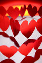 Rows Of Red Hearts Stock Photos