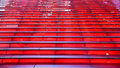 Rows of red Illuminating steps looking up with no people Royalty Free Stock Photo