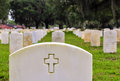 Rows of soldiers tombstones on a national cemetery Royalty Free Stock Image