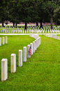 Rows of soldiers tombstones on a national cemetery Royalty Free Stock Photos