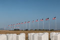 Rows of Tombstones and Flags at Miramar National Cemetery Royalty Free Stock Photo