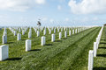 Rows of Tombstones at Fort Rosecrans National Cemetery Royalty Free Stock Photo