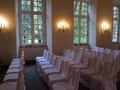 Rows of white chairs in wedding hall Royalty Free Stock Photo