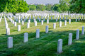 Rows of white grave stones arlington national cemetery Royalty Free Stock Photos