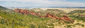 Roxborough state park panorama spectacular angled red sandstone cliffs near denver colorado Stock Photo