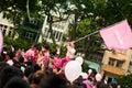 Roy Goh waving Pinkdot Flag Royalty Free Stock Photo