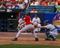 Roy oswalt attempting to bunt astros pitcher attempts lay down a against the new york mets Royalty Free Stock Photo