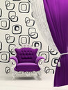 Royal armchair with curtain isolated on ornament Royalty Free Stock Photo