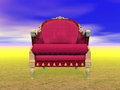 Royal armchair in nature d render luxury red and golden alone Stock Photos