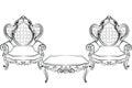 Royal Armchair and table set