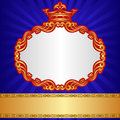 Royal background blue with golden crown and ornaments Royalty Free Stock Photos