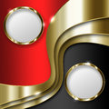 Royal background curve gold lines with framed circles Stock Photography