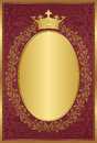 Royal background red with decorative golden frame and crown Royalty Free Stock Photos