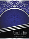 Royal Blue Background with Ornate Silver Leaf Stock Photos